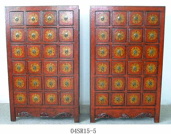 Qing Dynasty Rare Apothecary Chinese Antique red cabinet pair. »★«Elysian Interiors»★«
