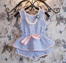 2 PCS / 0-7Years / verão estilo princesa moda tarja criança meninas roupas Set t-shirt + Short crianças Costume para a roupa do bebê BC1173(China (Mainland))