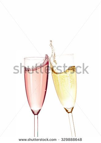 Two Different Taste. Gold and pink champagne isolated on white background.