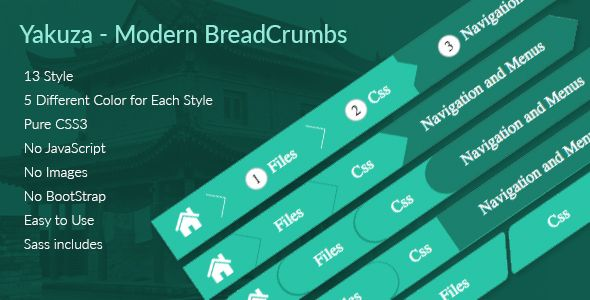 Yakuza - Modern BreadCrumbs .This is very simple and modern CSS3 Breadcrumbs. 13 different style with 5 different color