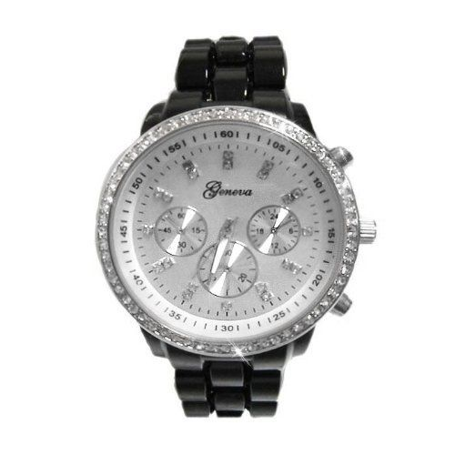 Womens Black/Silver Plastic Link Bracelet Watch CZ Accented Large Face Faux Chronograph Watch Silver Dial Silver Tone Rhinestone Bling Bezel-BLK-SILCZ Geneva. $13.50. Large Face Watch with Faux Chronograph sub-dials. Plastic three-link band with fold-over-clasp. Stainless Steel Back Cover. Quartz Movement