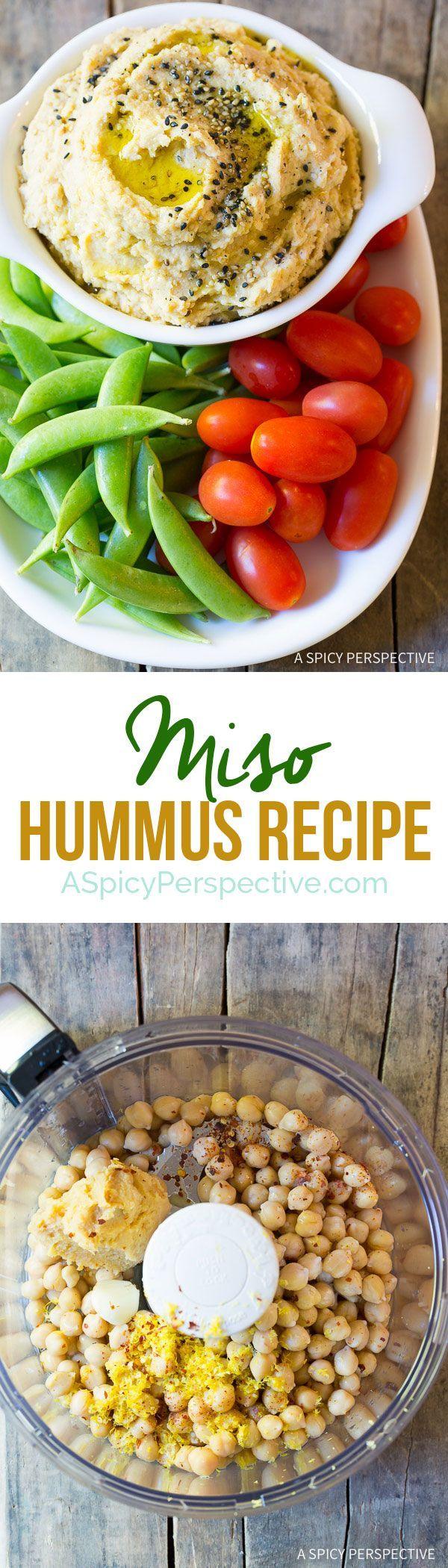 I love this Rich and Creamy Miso Hummus Recipe on ASpicyPerspective.com via @spicyperspectiv