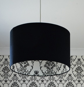 Moore & Moore Wallpaper, Custom made Ceiling pendant by Shady Designs.
