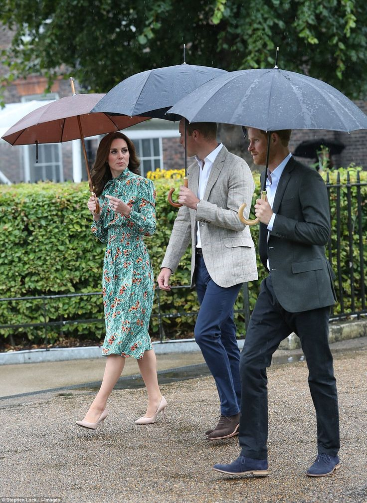 Tribute: Sheltering from the downpour, William and Harry, joined by the Duchess of Cambridge, tour the White Garden, which has been planted in the Princess's memory to mark two decades since she died