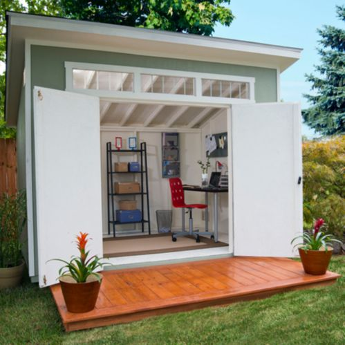 """Costco Aston Shed, 10' x 7.5', 9 ft. at the  front peak, with three transom windows and 64"""" double door. Deck in photo not included."""
