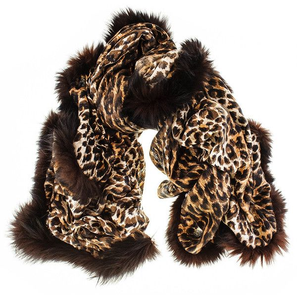 Black Fur Trimmed Leopard Print Cashmere Ring Shawl (36985 RSD) ❤ liked on Polyvore featuring accessories, scarves, cashmere shawl, leopard shawl, shawl scarves, woven scarves and black scarves