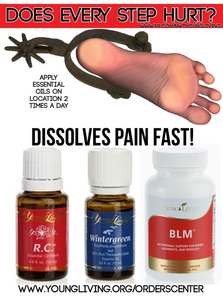 I have a friend that successfully used RC and Wintergreen twice a day for spurs in her thumb and finger joints. That was over a year ago and she still has no pain. www.fb.com/nwtyoungliving or order today at www.youngliving.org/orderScenter.  Message me how to get 24% off all products for life!