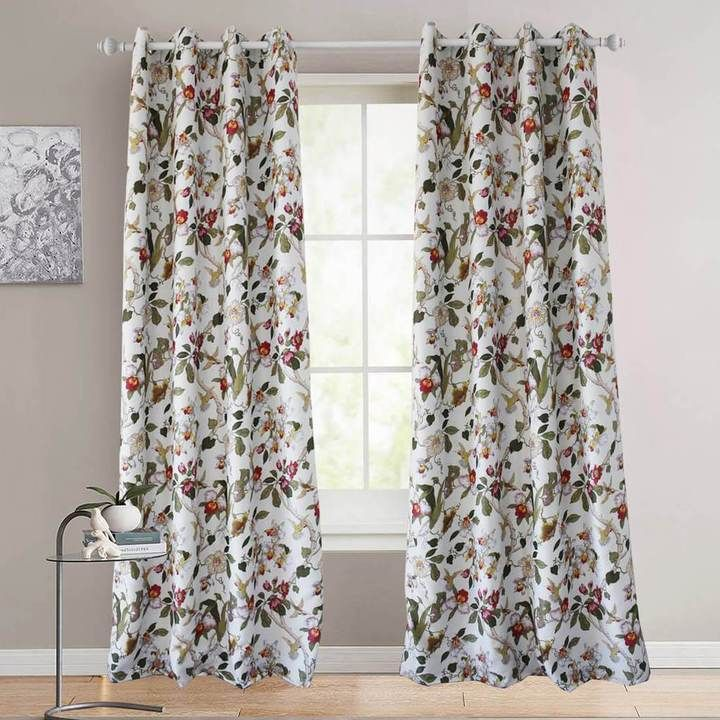 Red Flower Blackout Curtains Birds Drapes For Bedroom 1 Set Of 2