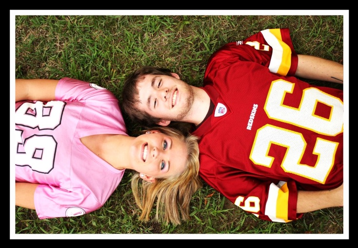 Cute Engagement Picture Idea! Fiance and I wore our Redskins Gear in our Photoshoot.