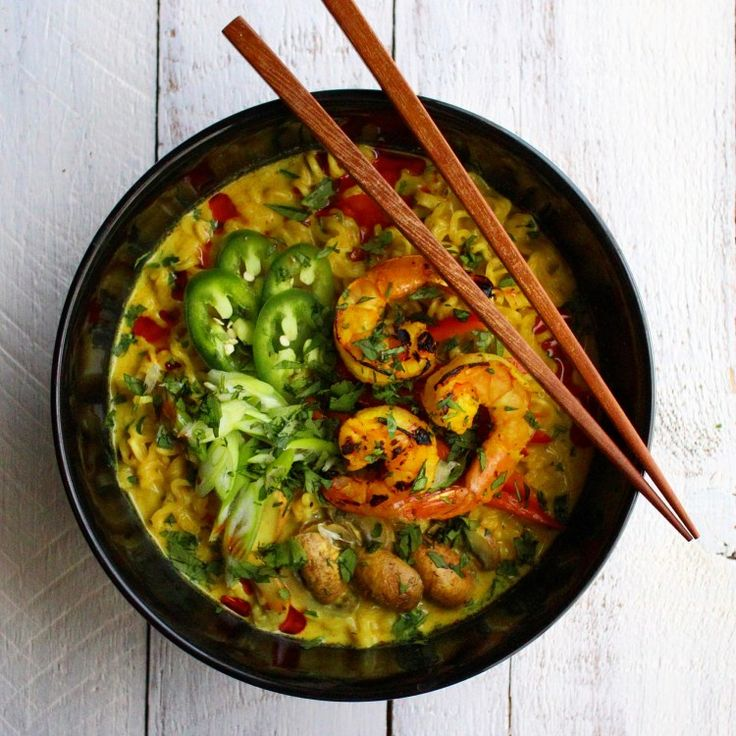 Coconut Curry Ramen with Turmeric Grilled Shrimp – What do you crave?