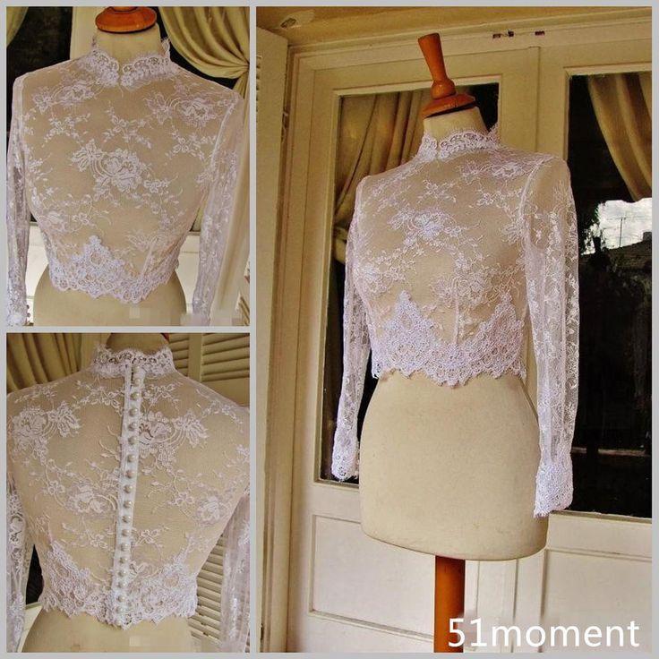 2015 Bridal Jackets Long Sleeve Lace Pearls Winter Wedding Boleros Bridal Wraps #Jacket