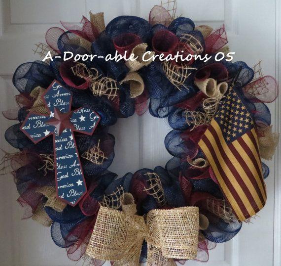 AMERICAN PRIDE..Primitive/Country/Vintage..Burlap..Cross..Tea Stained American Flag..Deco Mesh Wreath