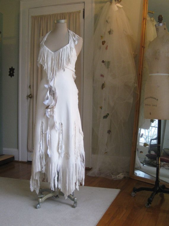 Hippie Bride Dress, Bohemian Dress, White Native Fringe Dress by hippiebride
