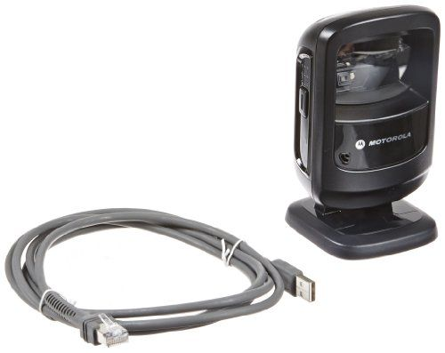 Motorola DS9208 Corded Omnidirectional LED Desktop Barcode Reader with USB Host Interface and 7' Cable, 5V DC, Black