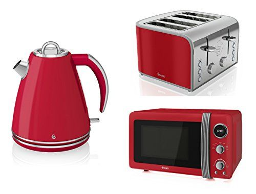 Swan Kitchen Appliance Retro Set   Red Digital Microwave, 1.5 Litre Jug.