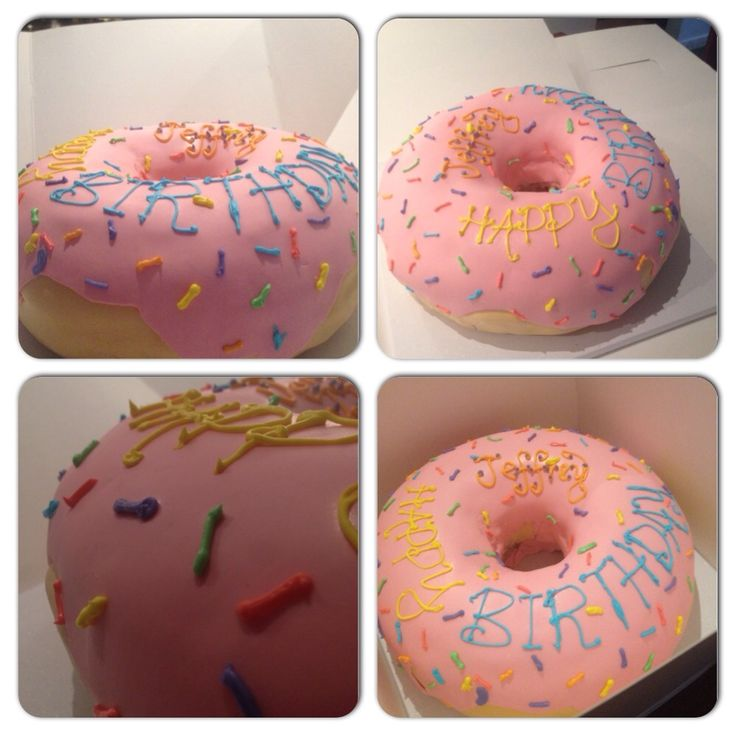 Friend wanted a Simpsons donut cake...I think I nailed it. - Imgur