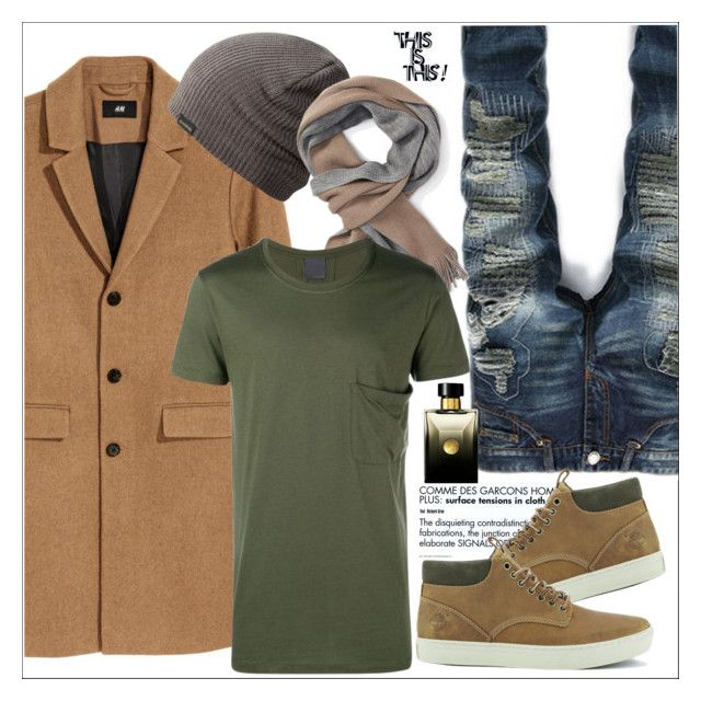 """Wol mix Coat"" by biange ❤ liked on Polyvore featuring Dakine, BOSS Hugo Boss, Comme des Garçons, Timberland, Lot78, Versace, men's fashion and menswear"