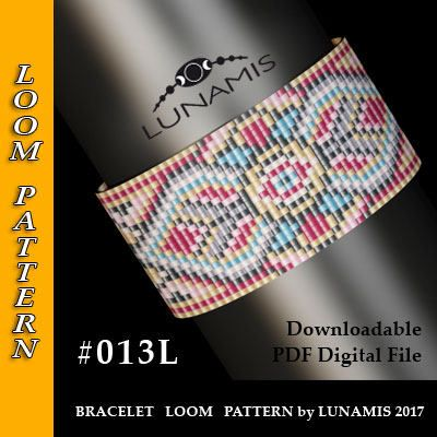 """PDF FORMAT / PATTERN ONLY. Create this beautiful peyote cuff bracelet.  Bracelet loom patterns / square stitch made with size 11/0 Miyuki round beads Width: 3,6 cm / 1.4"""" (25 columns) Length: 15,7 cm / 6.2""""  Colors: 7  Patterns include: - Large colored numbered graph paper (and non-numbered in another files) - Bead legend (numbers and names of Miyuki round beads colors ) - Word chart - Pattern preview  This pattern is intended for users that have experience ..."""