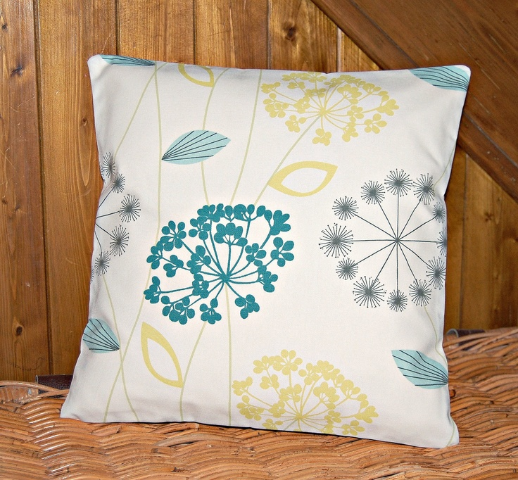 lemon yellow blue grey cushion cover, 16 inch flower decorative pillow cover BOTH SIDES Grey ...