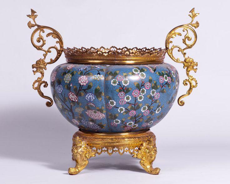 Jardinera china en esmalte cloisonne y bronce dinastia for Vase antique romain