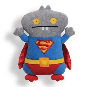 Uglydoll Babo Superman Stuffed Animal This character from the Uglydoll group is so cute.  It is attractive and made well. Uglydoll Babo is ready for the local comic book convention, and dressed like his favorite superhero: Superman. http://awsomegadgetsandtoysforgirlsandboys.com/gund-superhero/ Gund Superhero: Uglydoll Babo Superman Stuffed Animal