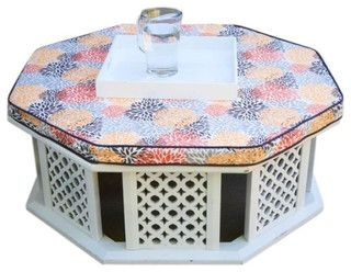 Moroccan coffee table with upholstered top