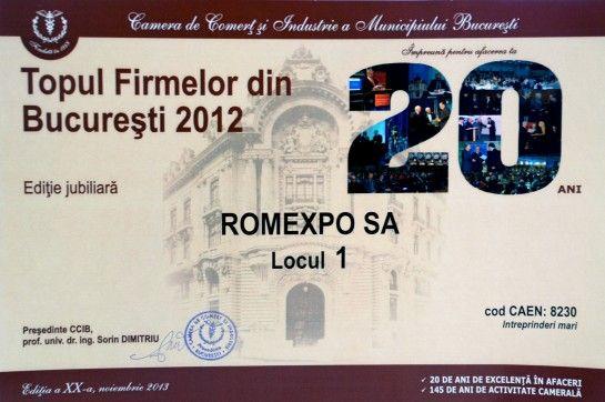 Romexpo, premiat in cadrul celei de-a 20-a editii aTopului Firmelor din Bucuresti