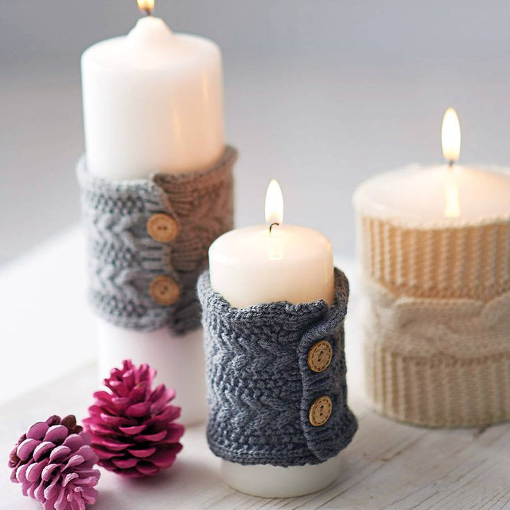 knitted christmas candle cosy by henry's future | notonthehighstreet.com