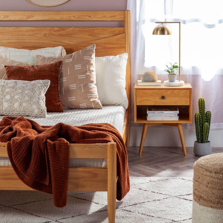 Atticus Solid Wood Queen Bed in 2021   Mid century modern bedroom, Wood details design, Bed frame