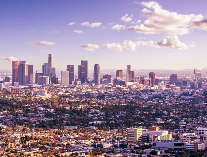 Los Angeles city skyline viewed from the Hollywood hills. Boyfriend's mommy and daddy going tonight, we are so jelly