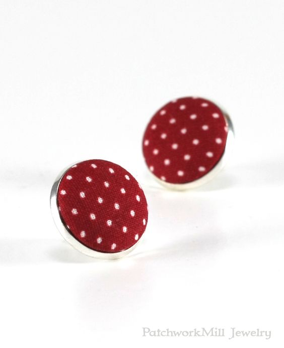 Dark Red Stud Earrings, Garnet Polka Dots Earring Studs, Burgundy Wine Fabric Covered Buttons, Maroon Silver Toned Earring Posts Jewelry  Christmas Gift by PatchworkMillJewelry