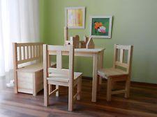 Simple Kindersitzgruppe x Kindertisch x Kinderstuhl x Banktruhe MASSIVHOLZ u