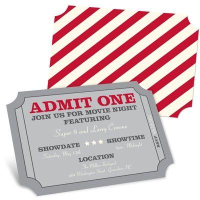 Admit One Movie Night Invitations
