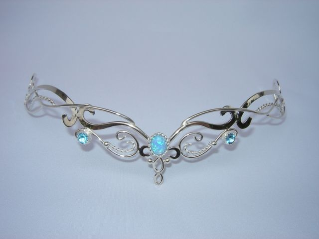 Blue Fire Circlet - $199.99 : Medieval Bridal Fashions, Circlets, Headpieces, Necklaces and Bracelets for your Renaissance, Celtic or Elven Wedding!