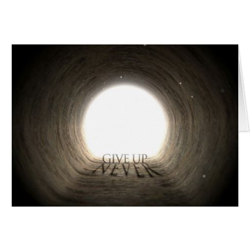 Tunnel Text and Shadow Concept - Never Give Up