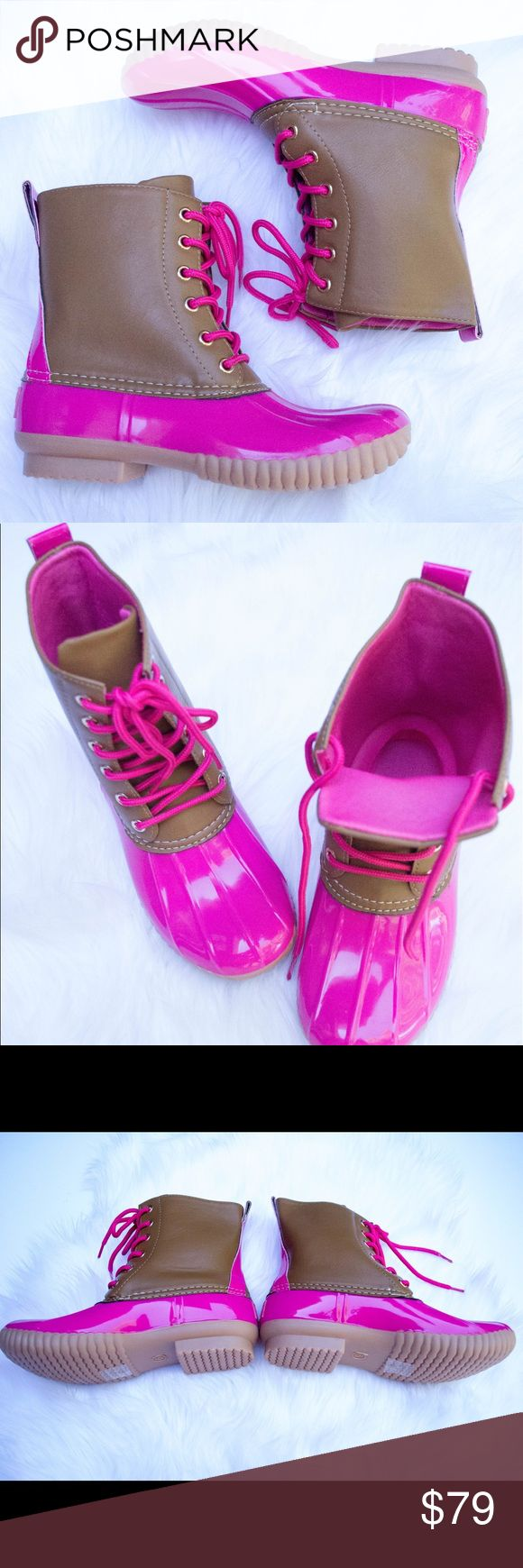 Hot Pink Duck Boots This listing is for leopard print. These are selling like crazy for fall  $79 each or $130 for 2 pairs. Other colors available  Select lining in each boot to keep you comfy. Stitched synthetic rubber sole for durability and grip  Price FIRM unless bundled. Kyoot Klothing Shoes Winter & Rain Boots