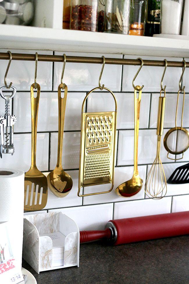 Gold Kitchen Utensils from Mia Fleur - www.swoonworthy.co.uk