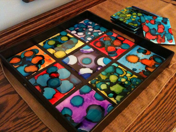6th Grade 2013 Alcohol Inks On Ceramic Tile Resin Coated
