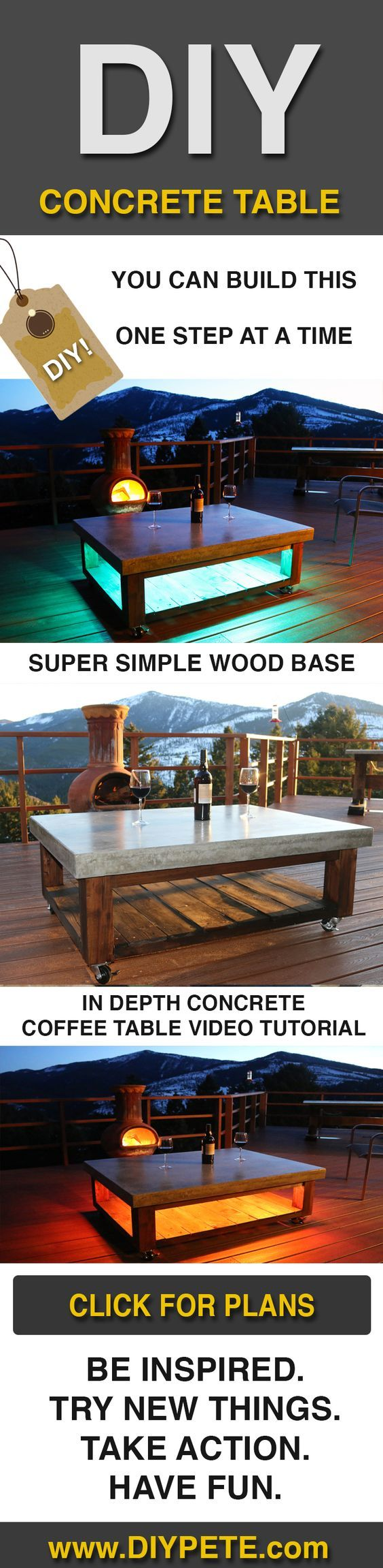 Diy simple coffee table learn how - Learn How To Make A Concrete Coffee Table For Your Patio The Base Is Simple To Build And The Concrete Table Top Will Look Amazing