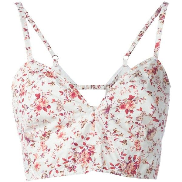 Etro floral print bralette top ($370) ❤ liked on Polyvore featuring tops, shirts, white, floral shirt, white floral top, colorful shirts, bralette tops and floral top