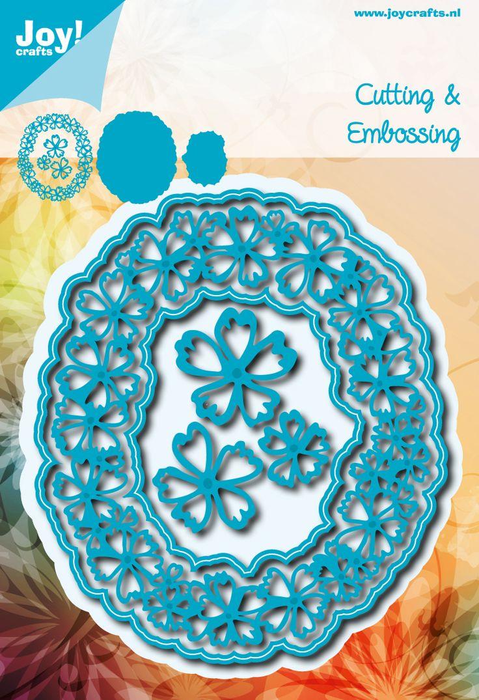 6002/0632 Blauw Ovaal met bloemen