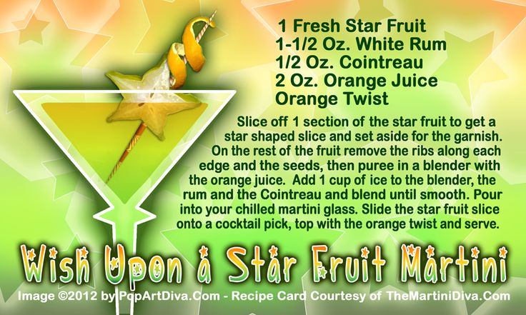 WISH UPON A STAR FRUIT MARTINI for National Wish Upon A Star Day! Why is July 17th Wish Upon a Star Day? Because it's the birthday of Disneyland!  Click the image for the Free, full-sized print quality recipe card & info!