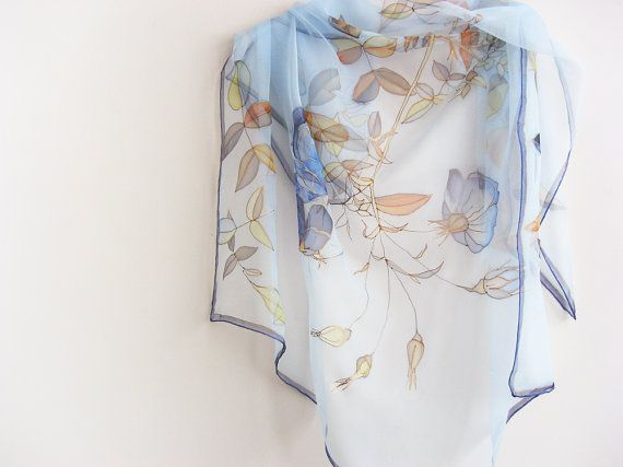 Sky blue Silk scarf hand painted on chiffon Wedding by DEsilk, $75.00 #silk