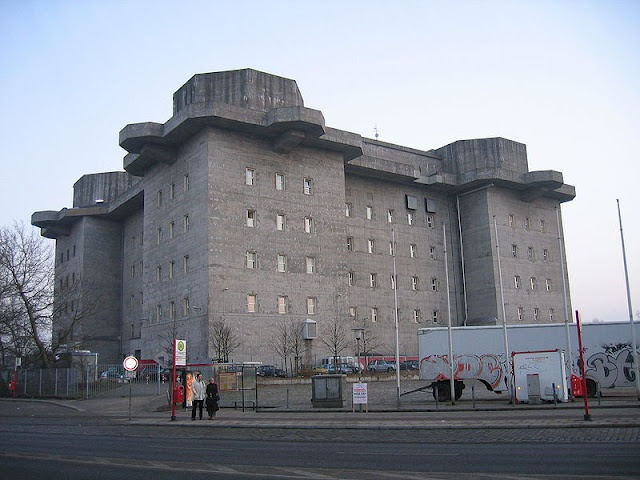 Formerly German army flak towers.  Now, they're zombie proof apartments.