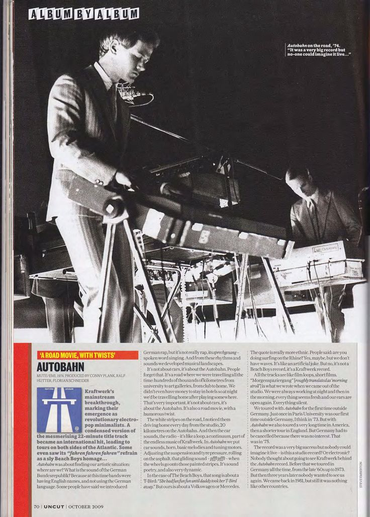 "In 2009 Uncut magazine managed to get Ralf Hütter of Kraftwerk to go through the entire Kraftwerk discography and comment on the band's albums one by one. Because of his role in creating these albums it's a bit silly to call his comments ""reviews"" but you know, it's close enough.   When this piece was executed, the split between Hütter and Florian Schneider was quite fresh—Florian had played his last gig with Kraftwerk three years earlier, on November 11, 2006, at Feria de Muestras in Zar..."