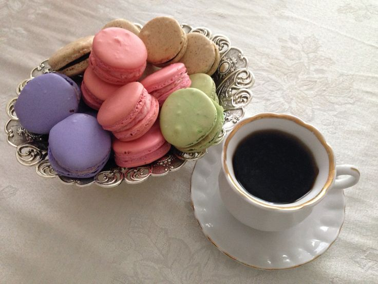 French macarons with coffee