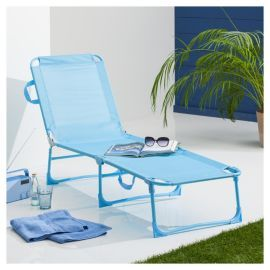 buy folding garden lounger aqua from our metal garden furniture range tesco