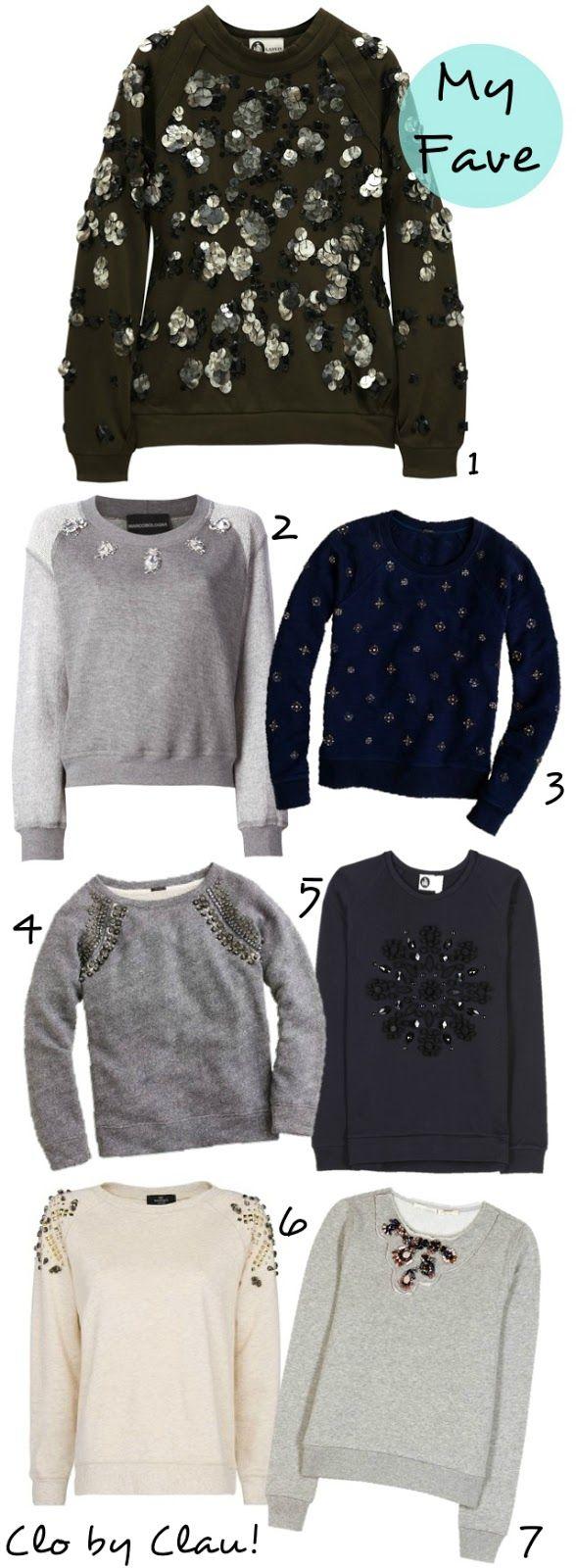 DIY Inspiration: Embellished Sweatshirt I dont like the first one but  i like the rest
