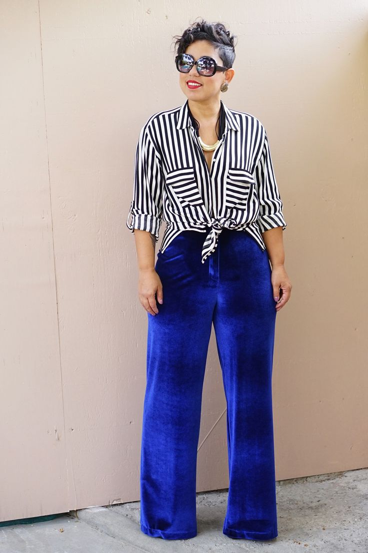 Velvet wide leg pull-on pants in red or blue now available in sizes small-xx-large