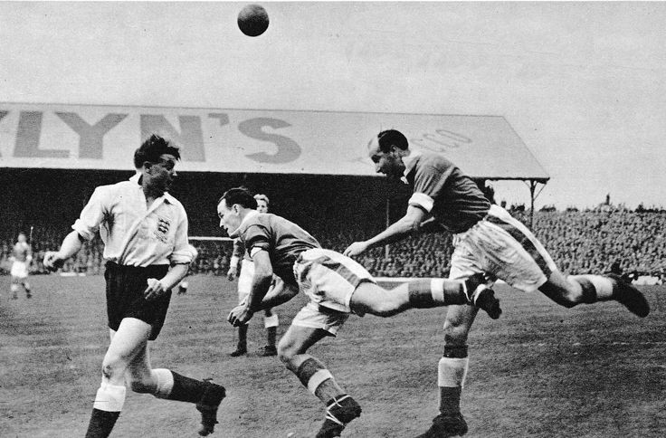 10th October 1953. Sheffield Wednesday inside forward Albert Quixall, on his England debut against Wales, when he was seen as a highly promising youngster but his international career fizzled out after just five caps.
